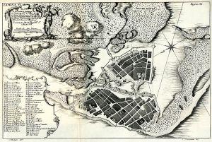 Plano de Cartagena de las Indias realizado en 1735 y publicado en la Obra Relación Histórica del Viaje a la América Meridional, de Jorge Juan y Antonio de Ulloa.