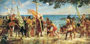 Primeros homenajes en el Nuevo Mundo a Colón, óleo de José Garnelo Alda (1892), Museo Naval de Madrid.