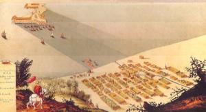 Dibujo de la Ciudad de Veracruz y San Juan de Ulúa en 1615. Se le llamaba Ciudad de Tablas debido a que las casas eran de madera con techos de palma.
