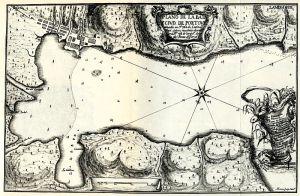 Plano de la Bahía y la Ciudad de Portobelo de la Provincia del Istmo publicado en la Obra Relación Histórica del Viaje a la América Meridional, de Jorge Juan y Antonio de Ulloa (1748).