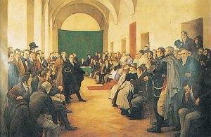 El Cabildo Abierto del 22 de mayo de 1810 en la ciudad de Buenos Aires, óleo de Pedro Subercaseaux (1910).