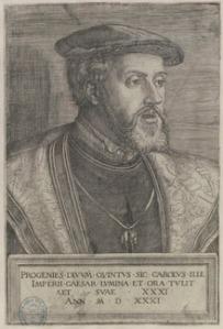 """Retrato de Carlos I, según un buril de Barthel Beham, fechado en 1531. En la Real Cédula de 1519 el monarca estableció: """"Y porque es nuestra voluntad y lo hemos prometido y jurado- comienza el Monarca –que siempre permanezcan unidas para su mayor perpetuidad y firmeza, prohibimos la enajenación de ellas. Y mandamos que en ningún tiempo puedan ser separadas de nuestra corona de Castilla, desunidas ni divididas en todo o en parte ni a favor de ninguna persona""""."""