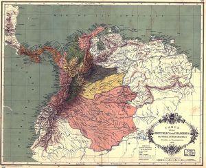 Carta de la República de Colombia dividida por departamentos en 1886. Carta XIII del Atlas geográfico e histórico de la República de Colombia, 1890.