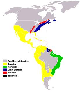 Los reinos de Indias (en color amarillo), el Estado más extenso y próspero de América durante más de tres siglos.