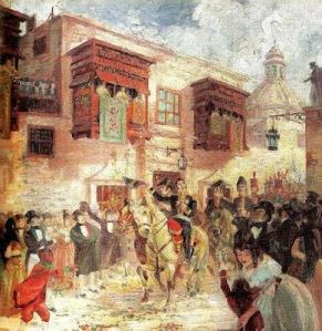 Entrada de San Martín a Lima, según el pintor trujillano José Alcántara de la Torre (1893-1978).