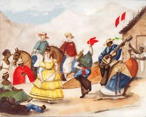 Escena limeña, en una acuarela del pintor costumbrista Pancho Fierro (