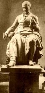 Estatua de mármol de Andrés Bello, obra de Nicanor Plaza, estuvo medio siglo frente al Congreso de Chile, fue trasladada en 1931 a la Universidad.