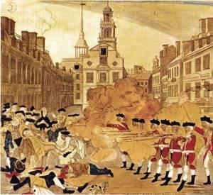Masacre de Boston, según un grabado de Paul Revere. Los Estados Unidos consiguieron su independencia gracias a la ayuda de Francia y España.