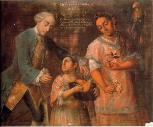 Representación del mestizaje en un óleo de 1770, obra del pintor poblano José Joaquín Magón. Museo Nacional de Antropología (Madrid).