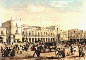 El Palacio Municipal (Palacio de la Diputación) en una litografía de Casimiro Castro, publicada en al álbum México y sus Alrededores (1855).