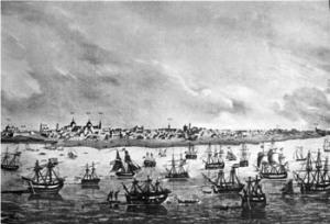 Puerto de Buenos Aires, en 1823 (autor desconocido). Los ingleses intentaron invadir el virreinato del Río de la Plata