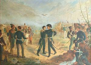Encuentro de San Martín y Belgrano en la Posta de Yatasto, óleo de Augusto Ballerini (1875). Instituto Nacional Sanmartiniano, Buenos Aires.