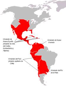 El Reino de Indias (Hispanoamérica) hacia finales del siglo XVIII. La que estaba destinada a ser una de las más extensas y poderosas naciones del mundo acabó fragmentándose en multitud de repúblicas.