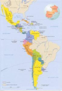 Mapa político de la Hispanoamérica actual, comparada a la misma escala con las superficies de España y Francia.