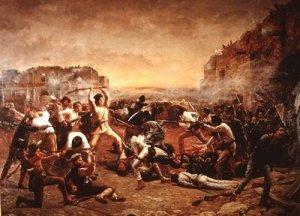 Representación de la batalla de El Álamo, según un cuadro de