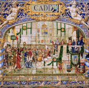 """Azulejo de la Plaza de España en Sevilla, donde se representa el cuadro de Salvador Viniegra """"La promulgación de la Constitución de 1812""""."""