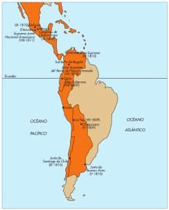 Juntas hispanoamericanas mapa