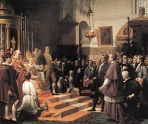 Las Cortes de Cádiz (iglesia Mayor de San Fernando), durante la celebración de la Sesión en la que los Diputados juran su cargo en 1810, obra de José María Casado del Alisal. Congreso de los diputados de Madrid