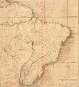 Mapa de las cortes de 1749, trazado para el Tratado de Madrid. La línea roja muestra cómo era la división según el Tratado de Tordesillas. Gran parte del territorio actual de Brasil fue arrebatado por este a Hispanoamérica.