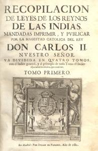 Portada de Recopilación de leyes de los reynos de las Indias (1681). Grabado. Biblioteca Nacional, Madrid.