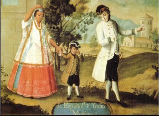 Respresentación del mestizaje en Nueva España, según un cuadro de finales del siglo XVIII; de autor desconocido.
