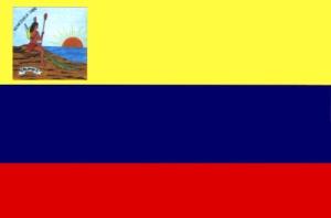"""Bandera tricolor fue izada por primera vez el 14 de julio de 1811. En el extremo superior izquierdo, a los pies de lamuejr india, aparece una cinta con la palabra """"Colombia"""", que es el nombre que creó Miranda para designar a toda la América hispana."""