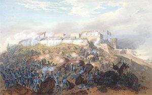 Representación del ataque estadounidense al castillo de Chapultepec, según una litografía basade en un dibujo de Carl Nebel (1851).