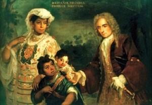 Representación del mestizaje en un óleo de Juan Rodríguez Juárez (1720). La América indo-española es peculiar en que la mayoría de su población desciende de españoles, indígenas o una mezcla de ambos.
