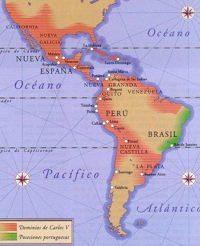 """Las Indias (en color rojo). Durante siglos, la mayor parte del continente formó parte de la Monarquía hispánica, de ahí que en el siglo XIX fuera usual el refirise a Hispanoamérica simplemente como """"América""""."""