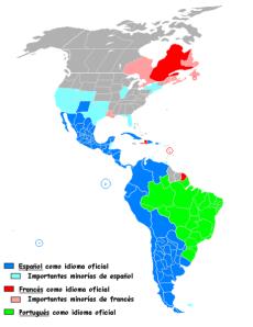 Mapa que muestra la distribución geográfica de las lenguas románicas o latinas habladas en el continente americano. El color azul corresponde al español, que es el idioma más hablado (más del 40% de la población de todo el continente americano).