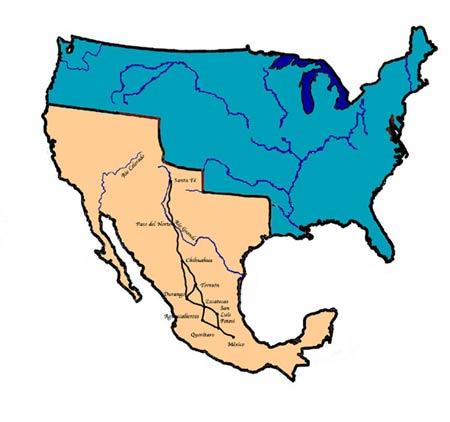 Territorios de México y Estados Unidos a principios del siglo XIX. Aunque ya entonces Estados Unidos se había apropiado de amplios territorios de Nueva España, todavía la superficie de México equivalía a casi las tres cuartas partes de la de Estados Unidos. Tras la guerra de agresión expansionista de este país contra México, este perdió más de la mitad de su territorio: uno de los mayores despojos territoriales jamás sufridos por un gran país.