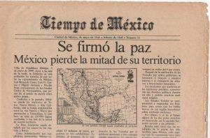 """La noticia de la falsa """"paz"""" que anunica la pérdida de más de la mitad el territorio mexicano."""