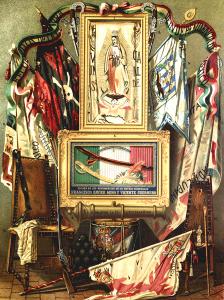 """Objetos de la época de la independencia en una imagen publicada en la enciclopedia """"México a través de los siglos"""", de Vicente Riva Palacio (Tomo III: """"La guerra de la independencia"""", por Julio Zárate, hacia 1880)."""