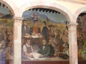 Mural en Zitácuaro de la instauración de la Suprema Junta Nacional Americana.