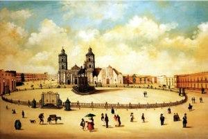 Vista de la Plaza Mayor de México, según un óleo de autor anónimo (hacia 1797).