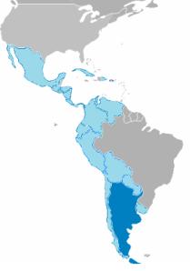 Argentina (en azul oscuro) dentro de Hispanoamérica. El Noroeste del país siempre ha estado geopolítica y económicamente más vinculado al Pacífico que al Atlántico.