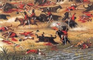 Detalle de un cuadro de Cándido Lópz, pintor que ilurstró ampliamente la Guerra del Paraguay. este conflicto fue promovido y financiado por Gran Bretaña y su aliado el Imperio del Brasil, y fue una autántica guerra de exterminio que acabó con la mayor parte de la población masculina paraguaya.