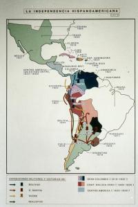 Lo que había sido una poderosa unidad geopolítica, la América española o Indias, acabó partiéndose en pedazos, por la ambición de caudillos locales sin ninguna visión de grandeza, y por la acción del imperialismo británico [pulse sobre la imagen para ampliar].