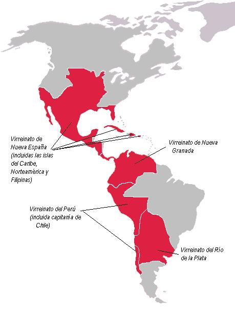 Territorio de las Indias (América Hispana) a finales del siglo XVIII, pocas décadas antes de su desdichada fragmentación.