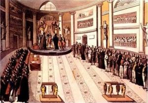 Fernando VII jura la constitución de Cádiz en 1820 en el Palacio María de Aragón, de Madrid, Fernando VII jura en 1820 la Constitución de Cádiz, cuando el ejército que iba a sofocar las rebeliones de América se rebela antes de partir en Cabezas de San Juan.