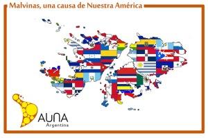 Composición gráfica de las islas Malvinas, con las banderas de todos los Estados hispanoamericanos.