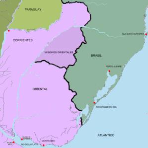Mapa donde aparece la Provincia Oriental (actual Uruguay) como parte de las Provincias Unidas del Río de la Plata.