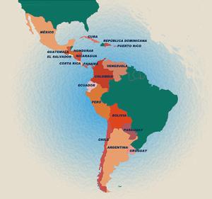 La división actual de Hispanoamérica en 18 repúblicas.