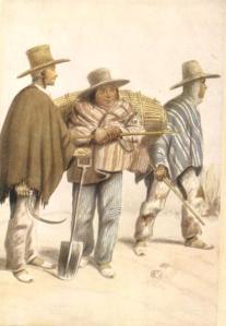 Tipos blanco e indio mestizo de la provincia de Tunja, sgún una acuarela de mediados del siglo XIX (Hojas de Cultura Popular Colombiana, Nº 36, 1953).