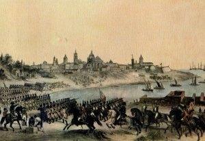 Ataque por los ingleses a Buenos Aires, liografía coloreada del artista Madrid Martínez (1807). Museo del Bicentenario (Buenos Aires).