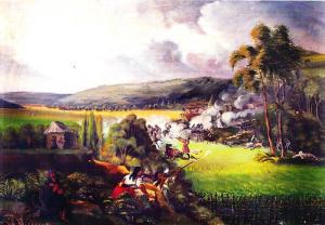 Batalla de los Ejidos de Pasto, obra del cronista y pintor José María Espinosa Prieto (hacia 1850), Museo Nacional de Colombia. Durante las guerras de independencia, Pasto adoptó la causa realista.