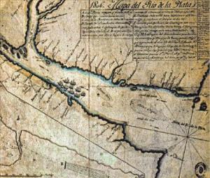 Mapa del Río de la Plata donde se muestra la entrada de los invasores ingleses