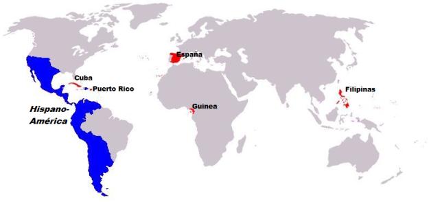 Siglo XIX: Hispanoamérica (salvo Cuba y Puerto Rico) se separa del resto de la Monarquía hispánica (en rojo). Pero en vez de hacerlo como un solo país, se rompe en pedazos y se somete al imperialismo de Gran Bretaña, EEUU y Rusia.