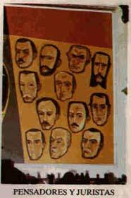 Detalle de un mural de Oswaldo Guayasamín en el que aparecen varios pensadores