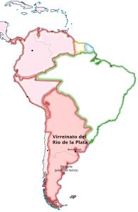 El virreinato del Río de la Plata, dentro del conjunto de la América hispana (en color rosado). Constituido por el gran estadista José de Gálvez, Ministro de Indias de Carlos III, fue concebido como el núcleo de un gran país que serviría para contrarrestar el expansionismo anglosajón por el norte.